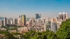 China del lapso de tiempo del panorama 4k del tejado del scape del día de verano de la isla de Macao almacen de metraje de vídeo