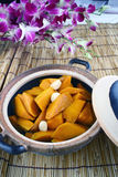 China delicious food—pumpkin in pot royalty free stock image