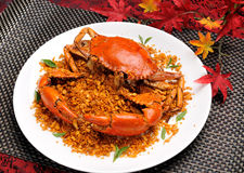 China delicious food. chinese cuisine Fried Shell Crab with garlic and pepper. Chili crab asia cuisine Stock Photo