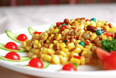China delicious food-- corn and pine nuts royalty free stock photo