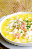 China delicious food-- tofu and shrimp soup Royalty Free Stock Photography