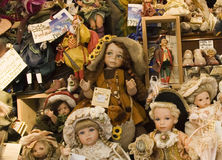 China doll shop. China dolls in a shop window in Venice stock photos