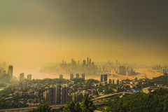 China downtown city skyline over the Yangtze River royalty free stock image