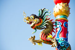 China Dragon. Climb on pillar Stock Image
