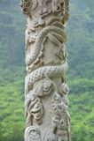China dragon column. Chinese building detail, traditional China architecture. looking at a dragon column made of white marble, in China Stock Photography