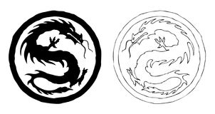China dragon ornament. Two fierce black and white china dragons. Vector (EPS) version is also included Stock Photo