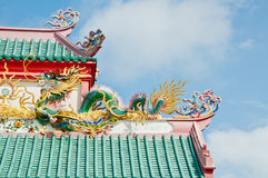 China dragon on the roop. The big Green dragon on the roop Stock Photo