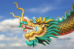 China dragon statue flying in the sky royalty free stock photo