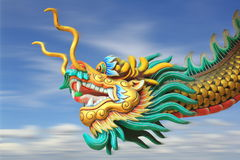 China dragon statue flying in the sky royalty free stock photography