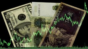 China dual currency basket.Loans in yuan.Salary in China.bank of China.Exchange,foreign exchange market or Forex in China.Sale or royalty free stock images