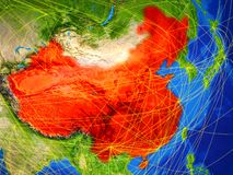 China on Earth with network. China from space on model of planet Earth with networks. Detailed planet surface with city lights. 3D illustration. Elements of this royalty free stock image