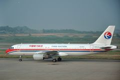 China Eastern Airlines Airbus A320 at Nanjing Airport Royalty Free Stock Photo