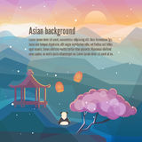 China Eastern landscape background. Asian background. China Eastern landscape. Mountains, nature with traditional Chinese elements. Low polygon style flat Stock Photo