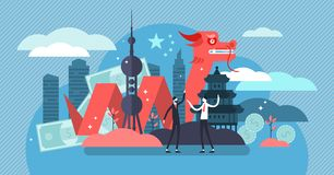 China economic growth and culture concept, flat tiny persons vector illustration. New world superpower, geopolitical strategy and government vision. Asia royalty free illustration
