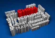 China economy and trade investments for GDP growth, 3D rendering. Concept for Chinese investment in economy, business, and trade markets to increase national GDP Royalty Free Stock Photo