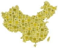 China in een geel mozaïek Royalty-vrije Stock Afbeelding