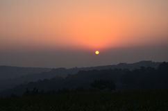 China een klein dorp bij zonsopgang royalty-vrije stock afbeeldingen