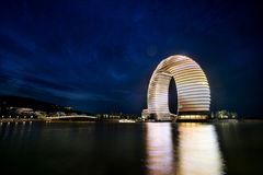 China, een luxehotel in Meer Tai Stock Foto