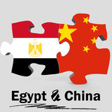 China and Egypt flags in puzzle Stock Photography