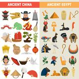 China and Egypt great civilizations color flat icons set. For web and mobile design Stock Photo