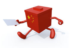 China election ballot cartoon. China election ballot box whit arms, legs and envelope paper on hands, 3d illustration stock illustration