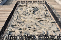Stone carve of Chinas dragon,Buddhism sculpture, China element symbol,  Royalty Free Stock Images