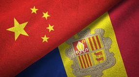 China en Andorra twee vlaggen textieldoek, stoffentextuur vector illustratie