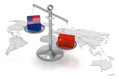 China en de wereldeconomie Stock Foto's