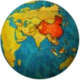 China en mapa del globo Foto de archivo libre de regalías