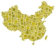 China en un mosaico amarillo Imagen de archivo libre de regalías