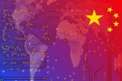 China en una economía global convertida a digital ilustración del vector