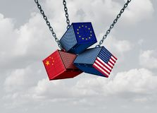 China Europe United States Trade War. Business metaphor and Chinese European and American tariff dispute as an economic problem with cargo containers in vector illustration