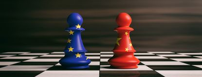 China and European Union flags on chess pawns on a chessboard. 3d illustration. China and EU cooperation concept. China and European Union flags on chess pawns Stock Photography