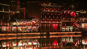 China Fenghuang Night Pond Reflection stock video footage