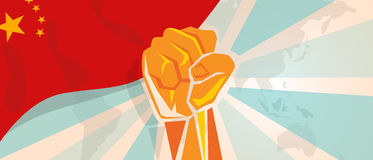 China fight and protest independence struggle rebellion show symbolic strength with hand fist illustration and flag. Vector royalty free illustration