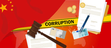 China fights corruption money bribery financial law contract police line for a case scandal government official. Vector Royalty Free Stock Images