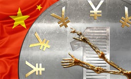 China finalcial time. Chinese currency Yuan with a skeleton arms pointing at Yuan symbol like clock hands. Business concept about, financial crisi,failure and Stock Images