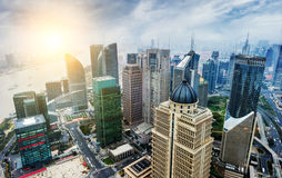 China financial district cityscape Stock Photos