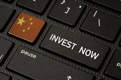 Free China Flag And Invest Now Wording Print Screen On Computer Keyboard Button, China Country Is Destination Of Business Investors In Royalty Free Stock Photo - 217805595