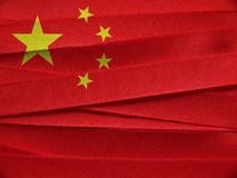 China flag or banner. Made with red and yellow ribbons Royalty Free Stock Photos