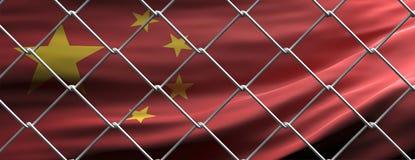 China flag behind steel mesh wire fence. Coronavirus pandemic quarantine, 3d illustration