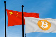 China flag and Bitcoin Flag. Waving over blue sky digitally generated image Stock Images