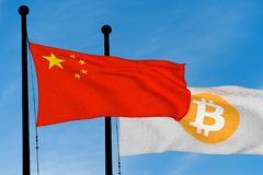 China flag and Bitcoin Flag. Waving over blue sky digitally generated image stock illustration