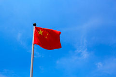 China Flag. With blue background royalty free stock images