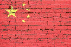 China flag. On brick wall background royalty free stock photography