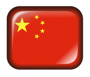 China Flag Button 3d effect isolated in white Royalty Free Stock Photography