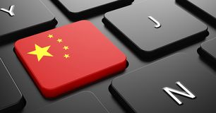 China - Flag on Button of Black Keyboard. Stock Image
