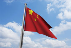 China Flag with Clouds Royalty Free Stock Photo