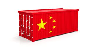 China flag on container. 3d illustration vector illustration