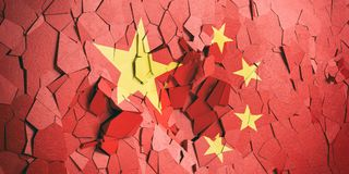 China flag on cracked wall background. 3d illustration. China crisis. Chinese flag on cracked wall background. 3d illustration royalty free illustration